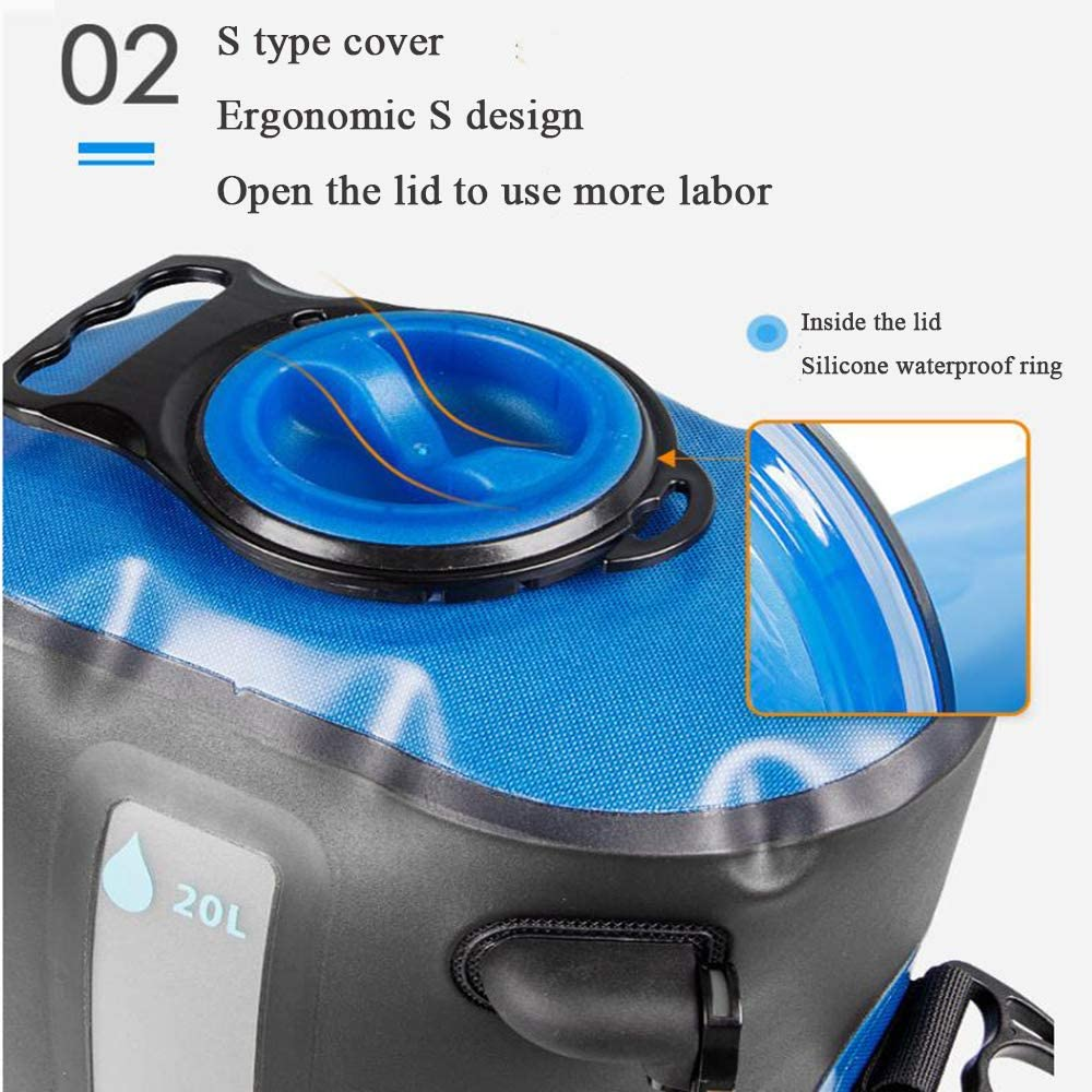 Omil TPU Waterproof Material Portable Shower Bag Durable Tear Resistant Folding High Temperature Resistant with Water Temperature Reminder and Capacity Scale Suitable for Outdoor