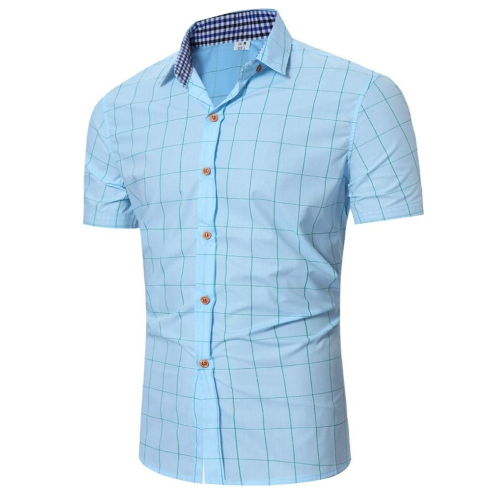 Forthery Mens Tops Clearance Short Sleeve Plaid Slim Fit Button Down Dress Shirt (Light Blue, XL)