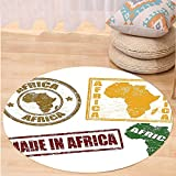 VROSELV Custom carpetAfrican Decorations Set Of Rubber Stamps Made In Africa Quote Inside Authentic Labels Theme Bedroom Living Room Dorm Decor Yellow Red Round 72 inches