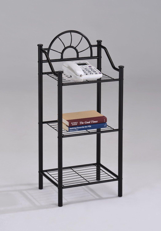 3-tier Garden Plant Phone Stand Corner Accent Table Bookshelf, Black Finish