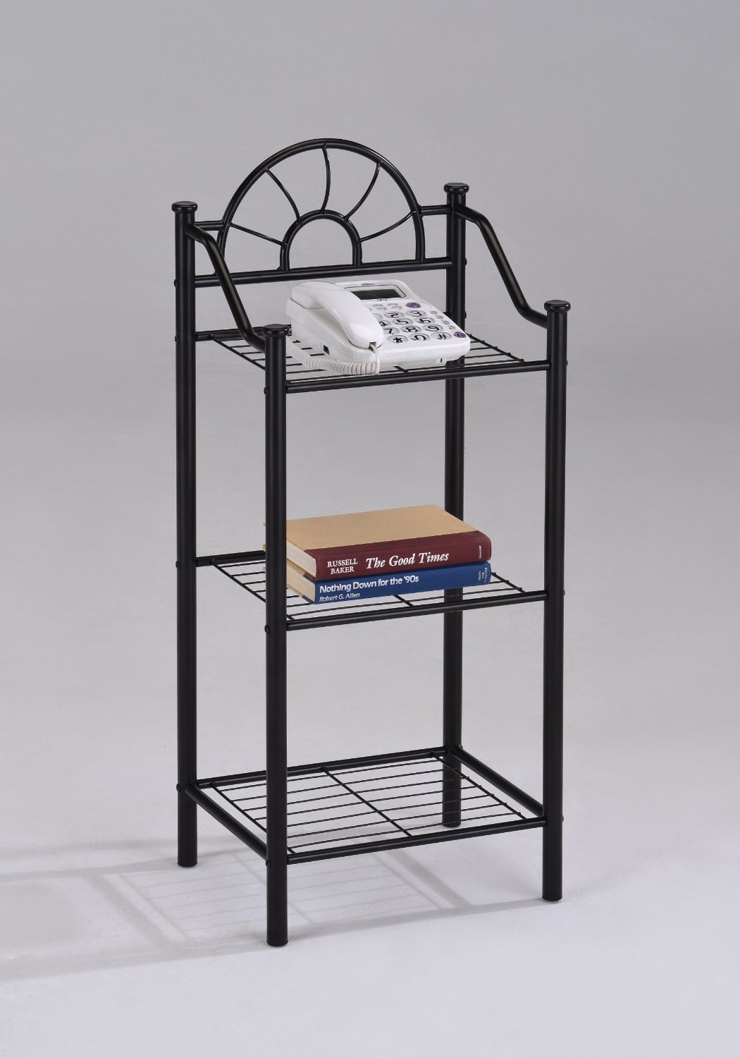 3-tier Garden Plant Phone Stand Corner Accent Table Bookshelf, Black Finish