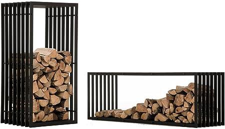 Porte-b/ûches Mural Rangement Bois Moderne M/étal Mat Noir Construction Stable CLP Support Bois de Chauffage Irving 50 x 40 x 150 cm