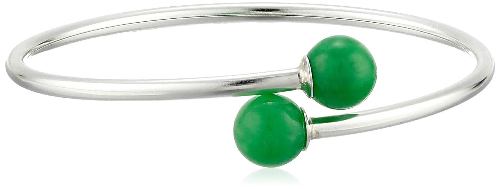 Sterling Silver 10mm Onyx   Jade Flex Wrap Bracelet