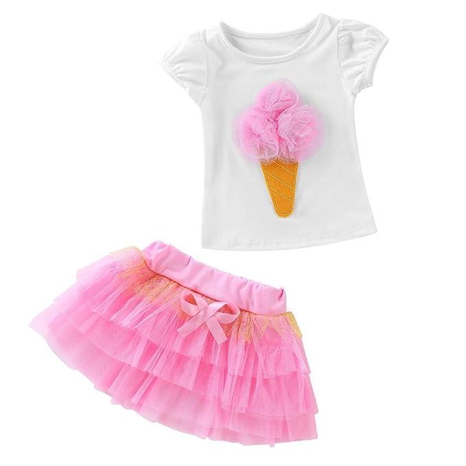 Conjunto de Ropa Bebé Niña Recien Nacido Bebé Camiseta de 3D Helado Patrón + Falda con Bowknot Tops Vestido 2 Piezas Ropa Verano❤️ Lonshell