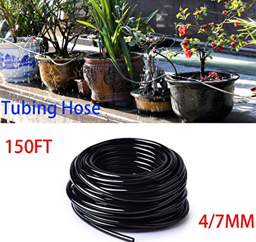 Househelper 150ft PVC Watering Tubing 1/4 Inch Black Hose Micro Drip Irrigation System For Home Garden Plants Flowers Water Supply Pipe (150ft(4/7mm)) by Househelper