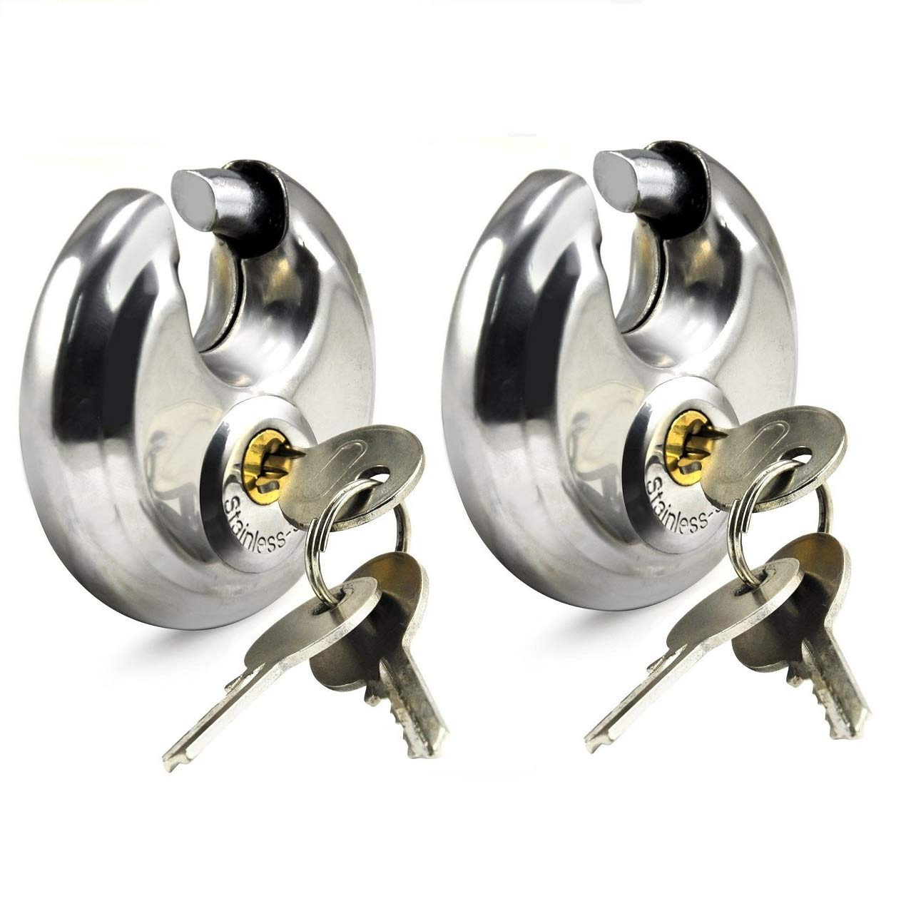 XFORT® 2 Pack Discus Padlocks, 60mm Round Circular Padlocks, Hardened Steel Shackle Enclosed in a Steel Body, Great for Indoor and General Purpose Application on Minimum to Medium Security Items. Maher London Ltd