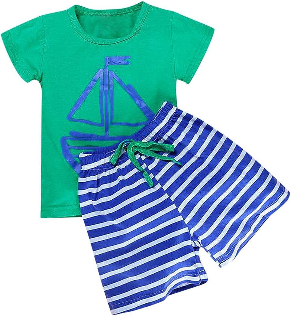 VICGREY 2Pcs Bambini Bambino Ragazzi Maglietta Manica Corta Estivi 1-5 Anni Abbigliamento Estate Cartoon A Strisce T Shirt Tops Pantaloni Corti Casual Outfit Set Pigiama T-Shirt