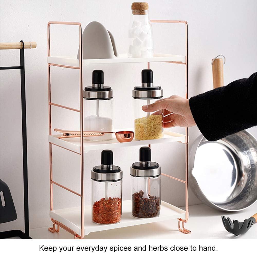 Baffect Bastidores de especias ajustables Estantes de especias y hierbas independientes Estante de tarro de almacenamiento de oro rosa,2 Tier Spice Rack Jar Holder Metal Herb y Spice Rack 2 niveles