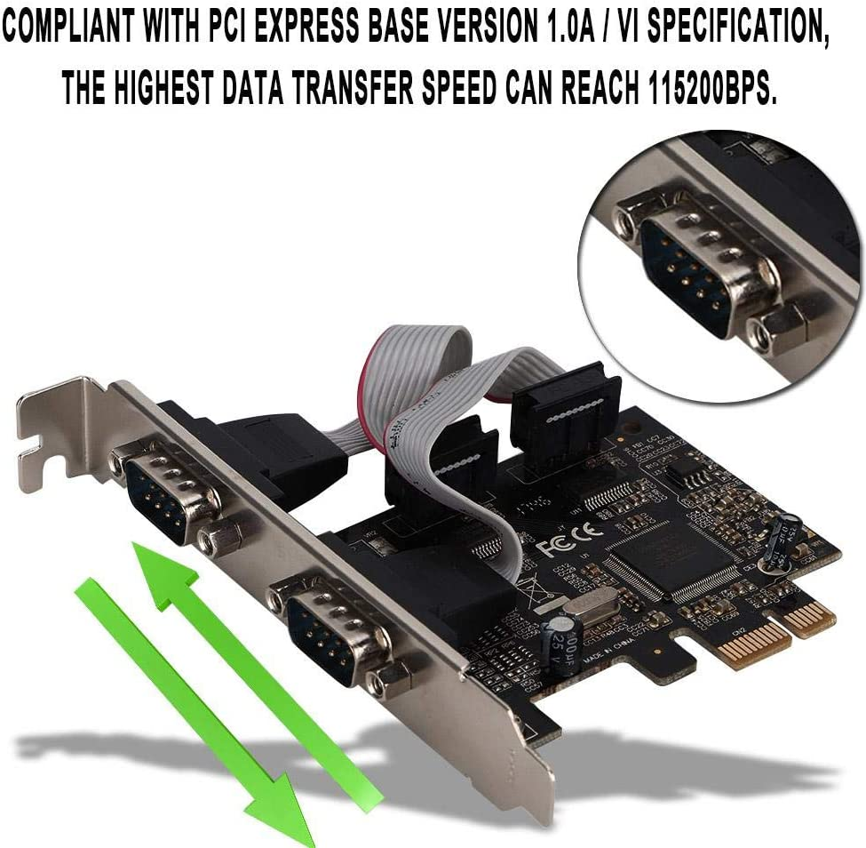 2 Port PCI-E to Serial Card Adapter Card Adapter with Drive CD Power Supply,for Banking,Securities,supermarkets,Support for Windows 98SE//ME//2000//XP//7//8//10
