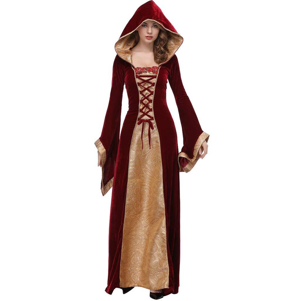 Onegirl Sexy Hooded Cloak Long Dress Suit Women Halloween Cosplay Princess Clothes Festival Dresses Red by Onegirl-dress