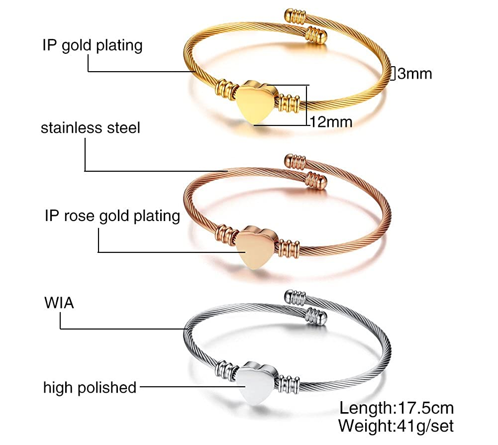 Mealguet Jewelry Fashion Stainless Steel Triple Three Stackable Cable Wire Twisted Cuff Bangle Bracelets Set for Women