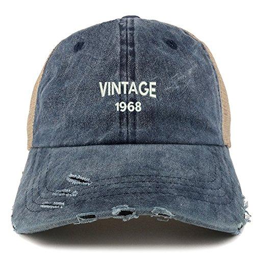 Trendy Apparel Shop Vintage 1968 Text 50th Birthday Embroider Frayed Mesh Cap - Navy