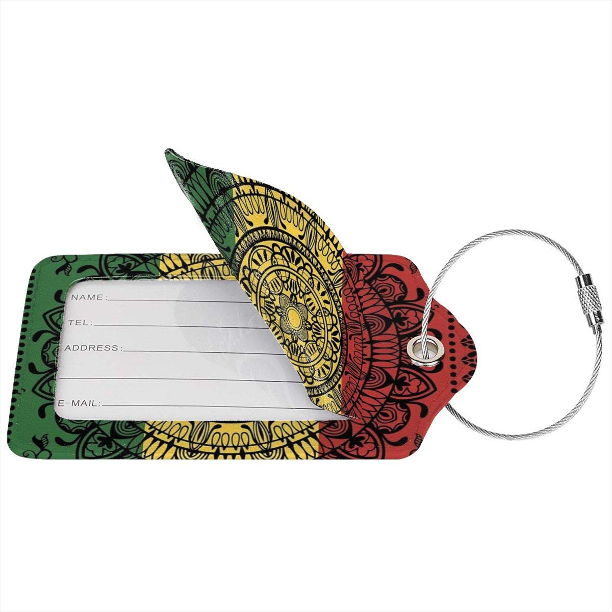 Leather Luggage Tag Rasta Monladax Luggage Tags For Suitcase Travel Lover Gifts For Men Women 2 PCS