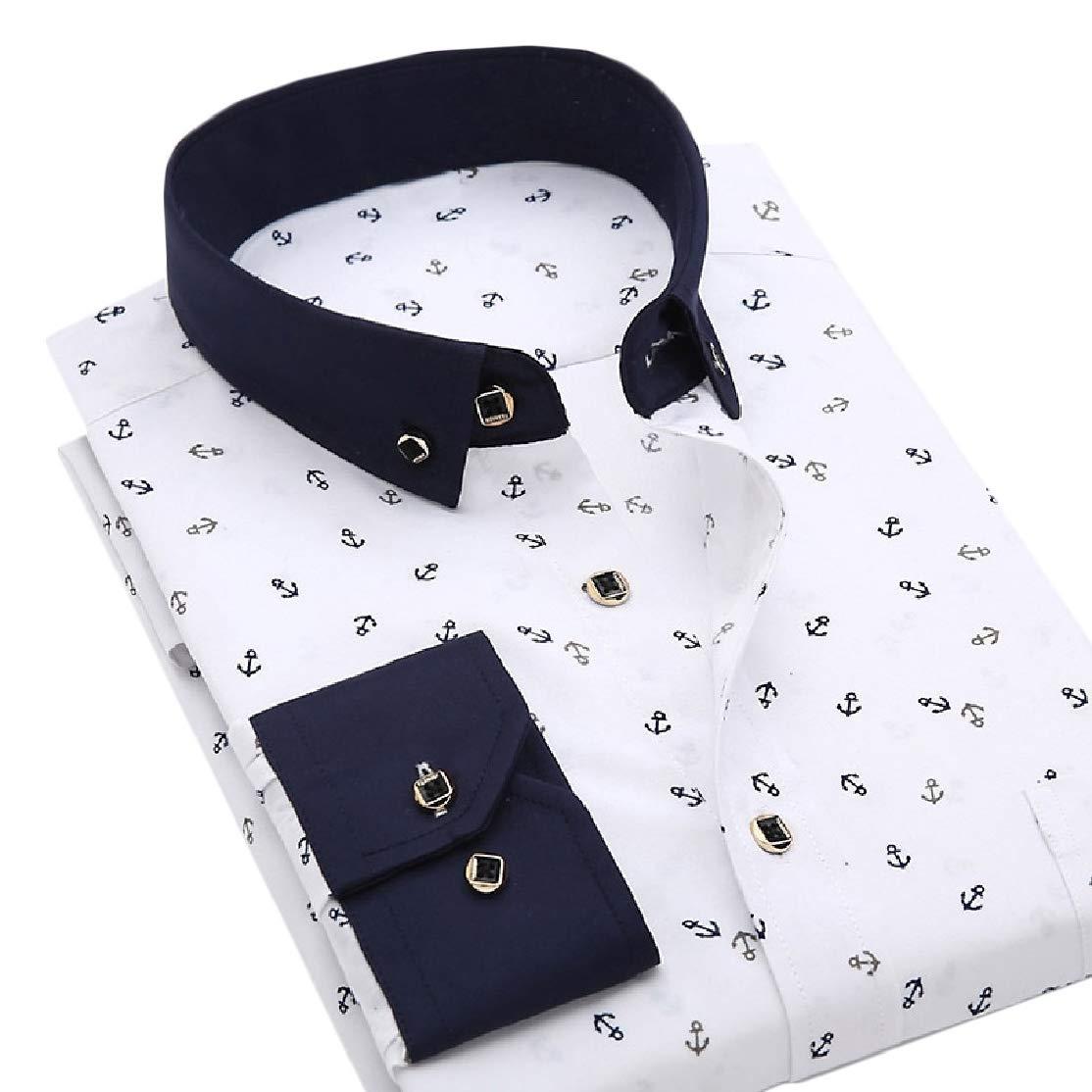 Colourful Mens Business Casual Premium Plus Size Button Down Shirt 15 S