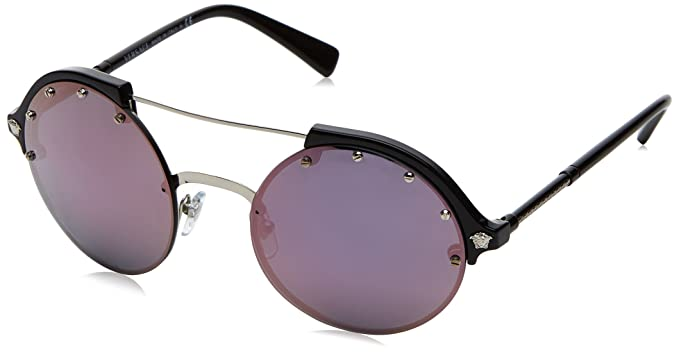 Womens 0VE4337 GB1/5R Sunglasses, Silver/Black/Darkgreymirrorpink, 53 Versace