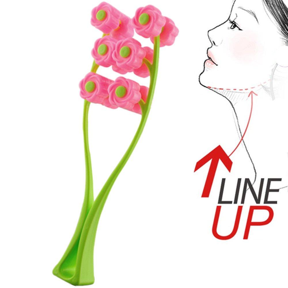Careshine Pink Green 12 roller wheels Face Cheek Massager Slimming Remove Chin Neck Facial Massager