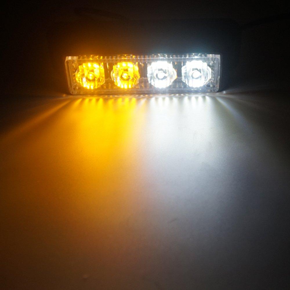 Linchview Frontblitzer 4W LED 12V/24V Auto Warnleuchten Blitzlicht Stand Licht Cargo Truck Strobe Leuchten mit 16 Blitzmuster (4 LEDs 4W) (Weiß -Gelb) 2716653305