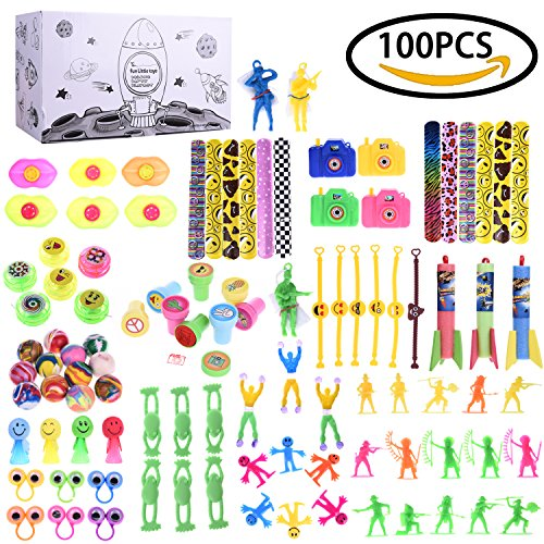 Boys Toys Accessory Assortment Party Favor Boxes for Birthday Party Supply, Pinata Toy, Carnival Prizes, Goodie Bags, School Prizes 100 (Pinata Party)