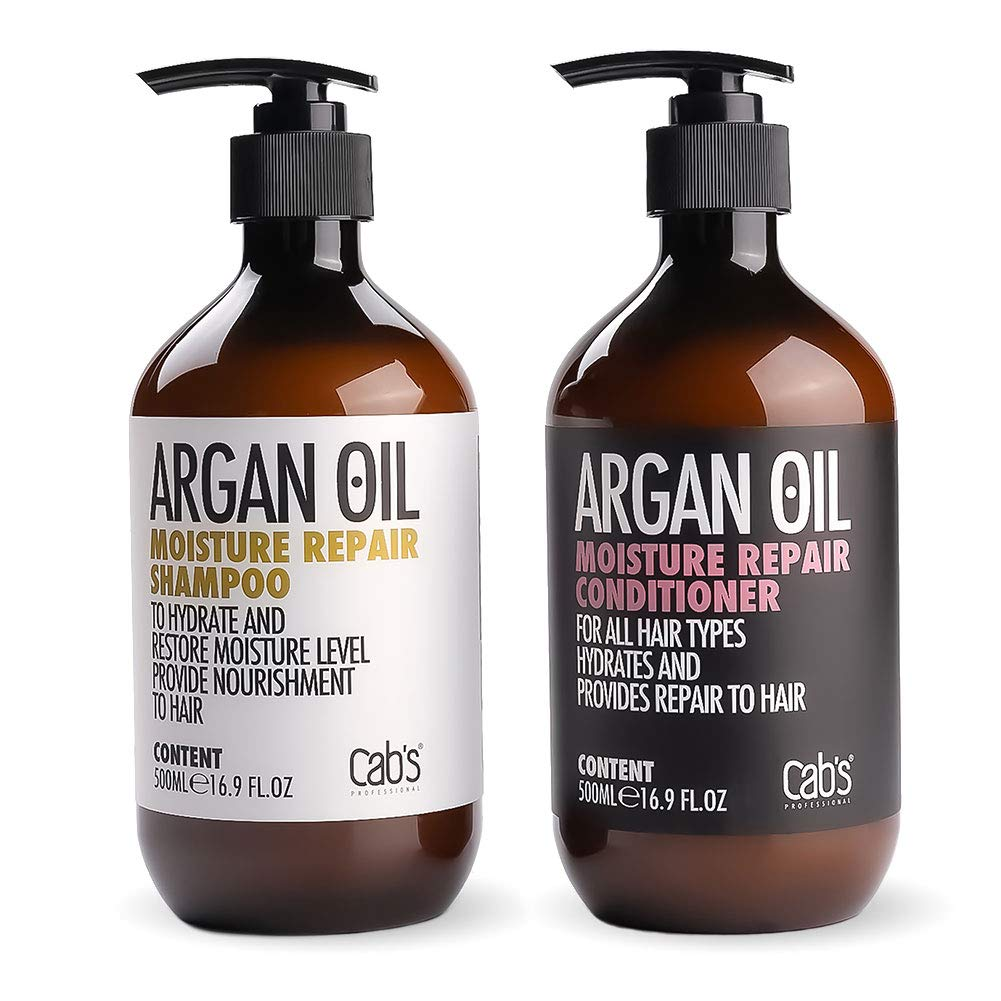 Cab's Argan Oil Moisture Repair Shampoo and Conditioner Set, Sulfate Free, Good for Damaged/Dry/Curly or Frizzy Hair, Suitable with All Hair Types, Men & Women - [2x 16.9 Fl Oz / 500ml] by Cab's