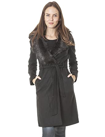 b08e54cfca43 Love My Fashions® Black Ladies Faux Wool Large Detachable Fur Collar Fabric  Tie Belt Sleeve Knee Length Jacket Size 16  Amazon.co.uk  Clothing