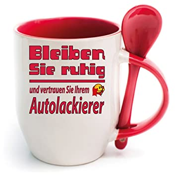 Sprüche Tasse Kaffee Macht Schön Löffelbecher Rot Bleiben