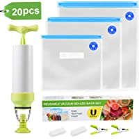 Uarter Sous Vide Bags Kit For Anova and Joule Cookers, 15 Reusable BPA Free Food Vacuum Sealer Bags, 1 Hand Pump and 2 Sealing Clip and 2 Sous Vide Bag Clip, Easy to Use, Practical for Food Storage