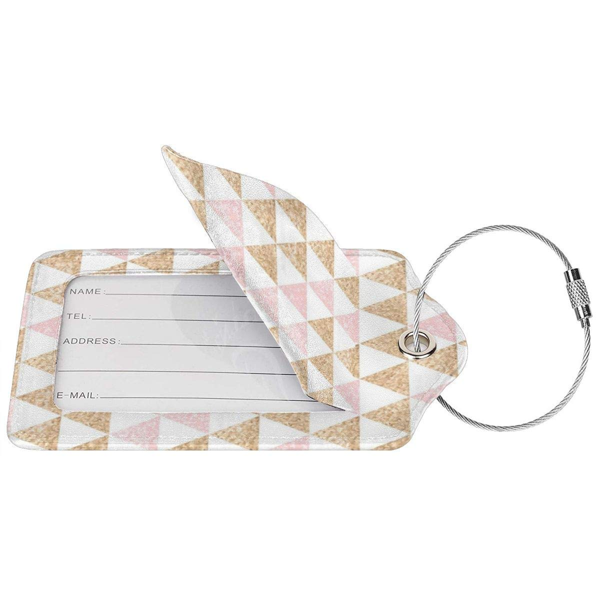 Leather Luggage Tag Rose Gold Pink Triangle Geometric Luggage Tags For Suitcase Travel Lover Gifts For Men Women 4 PCS
