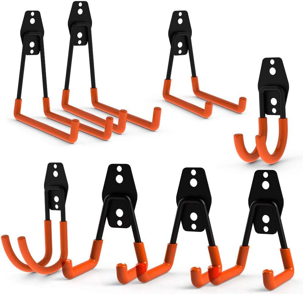 Ganchos dobles de acero para almacenamiento en el garaje CoolYeah, de gran resistencia para la organización de herramientas eléctricas, Laddy, artículos a granel (paquete de 8)