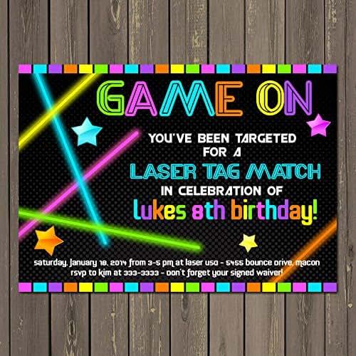 Amazon.com: Laser tag Neon Look Birthday Party Invitation ...