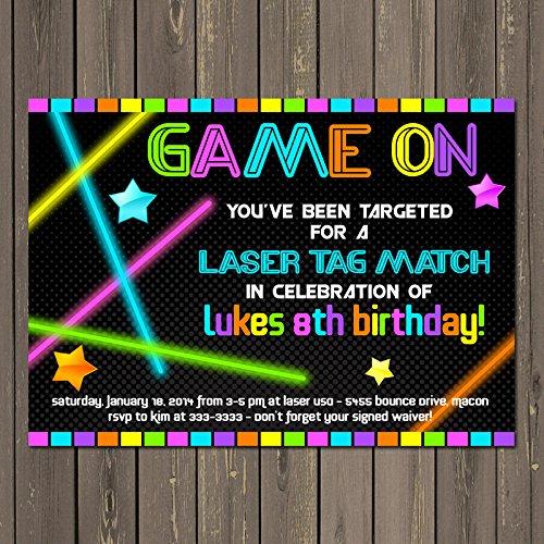 amazon com laser tag neon look birthday party invitation glow in