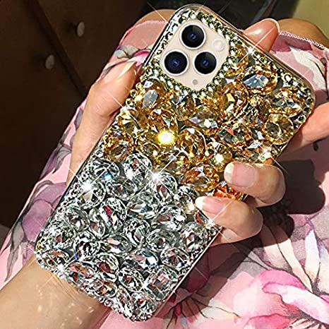 Amazon.com: Case for iPhone 11 Pro Max Diamond Case,3D Handmade Bling  Rhinestone Diamonds Luxury Sparkle Rhinestones Case Girls Women Full  Crystals Bling Diamond Case Cover for iPhone 11 Pro Max,Clear+Gold: Musical  Instruments
