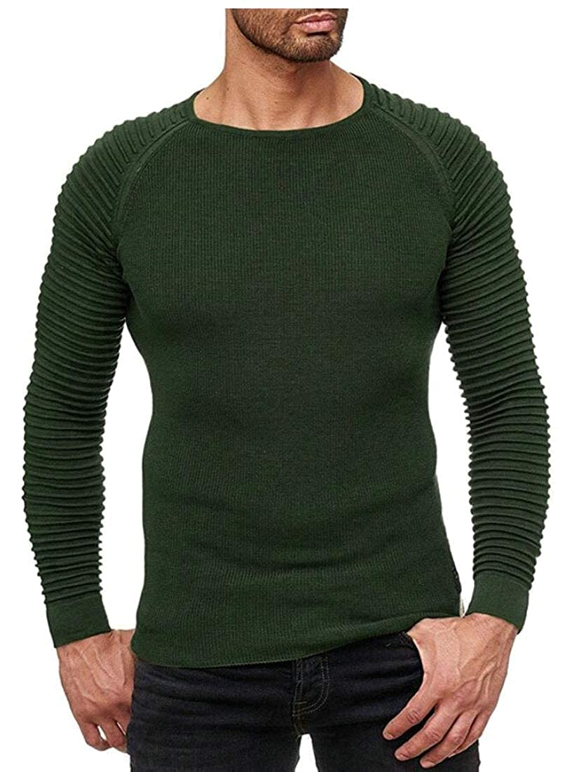 WSPLYSPJY Men Fashion Casual Slim Solid Crewneck Pleated Pullover Shirt Top