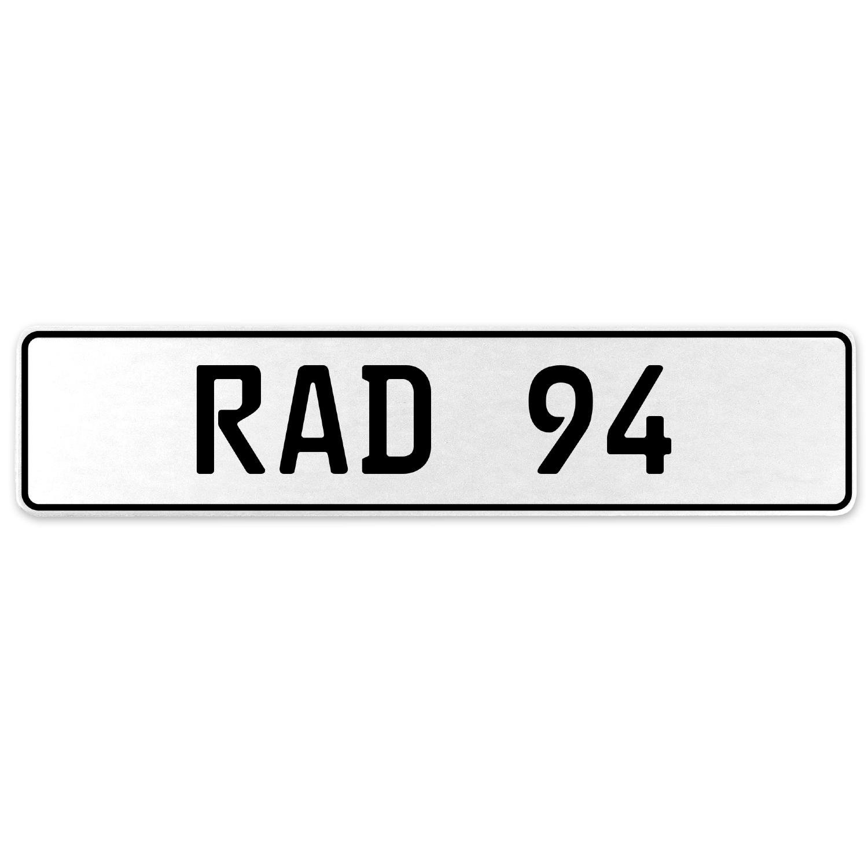 Vintage Parts 553998 RAD 94 White Stamped Aluminum European License Plate