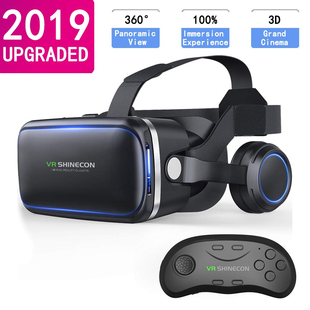 VR Headset with Remote Controls,HD 3D VR Glasses Virtual Reality Headset for VR Games & 3D Movies, VR Headset for iPhone/Android Phone Compatible 4.7-6 inch