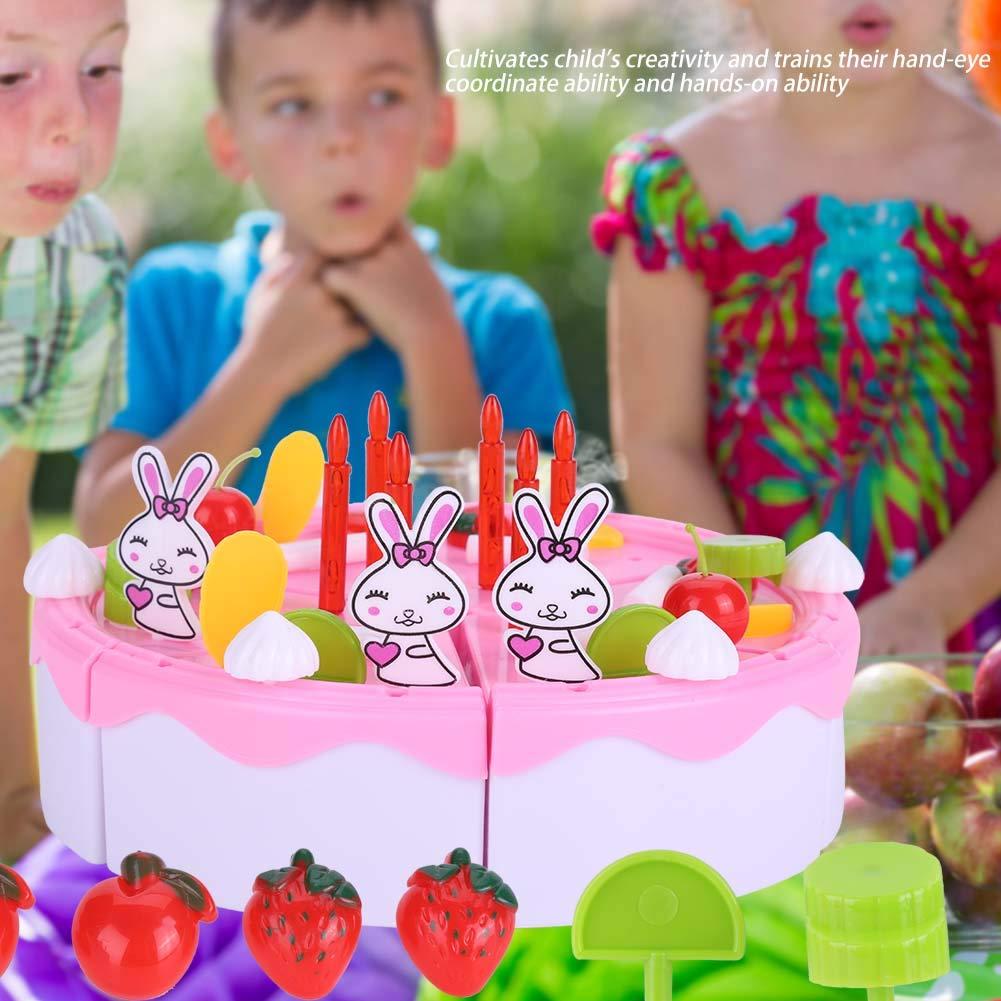 Set Toddler Toys Rosa Birthday Cake Toy Set Beautiful Fruits Cake Tool Cut Juego de Corte de Alimentos Cortados 46pcs
