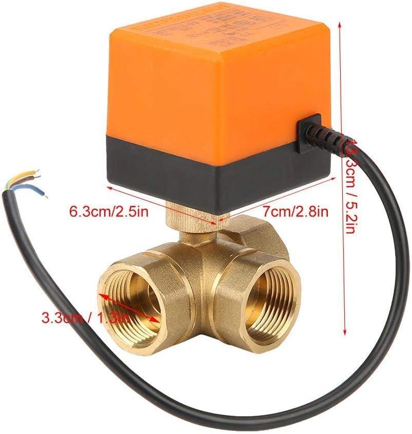 LONGJUAN-C Solenoid DN25 G1 Brass 3 Way Motorized Ball Electrical Valve for Air Conditioner DC24V Valve