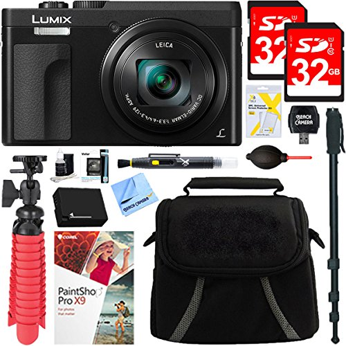 Panasonic LUMIX DMC-ZS70K 20.3 MP Digital Camera (Black) + 32GB Dual Memory Accessory Bundle by Beach Camera