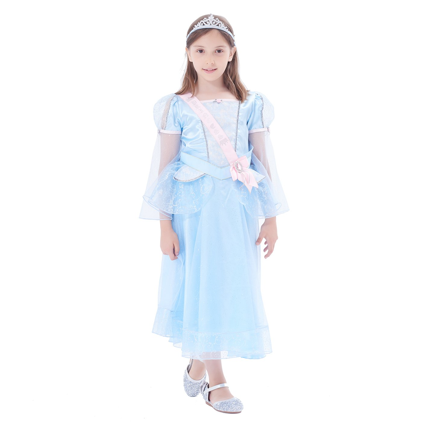 IKALI Girl Party Fancy Dress Up, Lace Ruffle Princess Wedding Costume Set with Tiara