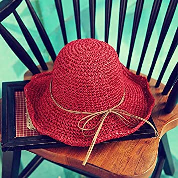 Amazon.com  KathShop Handmade Weave Raffia Sun Hats for Women Black Ribbon  Lace Up Large Brim Straw Hat Outdoor Beach Summer Caps  Kitchen   Dining 0c9ac5eabb19