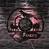 Lovely Animal Theme Foxes Vinyl Record Wall Clock Modern Design Handmade Vintage Hanging Art Clock Home Decorative Wall Watch (With Led)