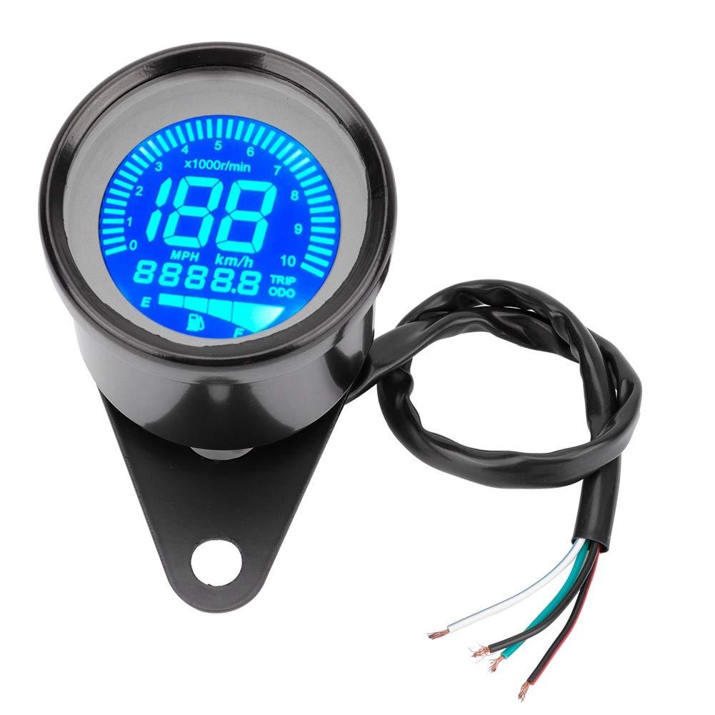 Contachilometri LCD moto Duokon Contagiri universale Tachimetro contagiri DC 12V 0-199 km//h nero