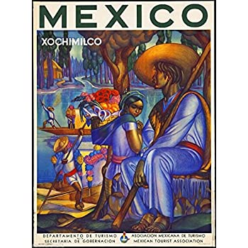 A SLICE IN TIME Mexico Xochimilco Mexican Spanish Vintage Travel Advertisement Art Poster Print. Poster measures 10 x 13.5 inches.