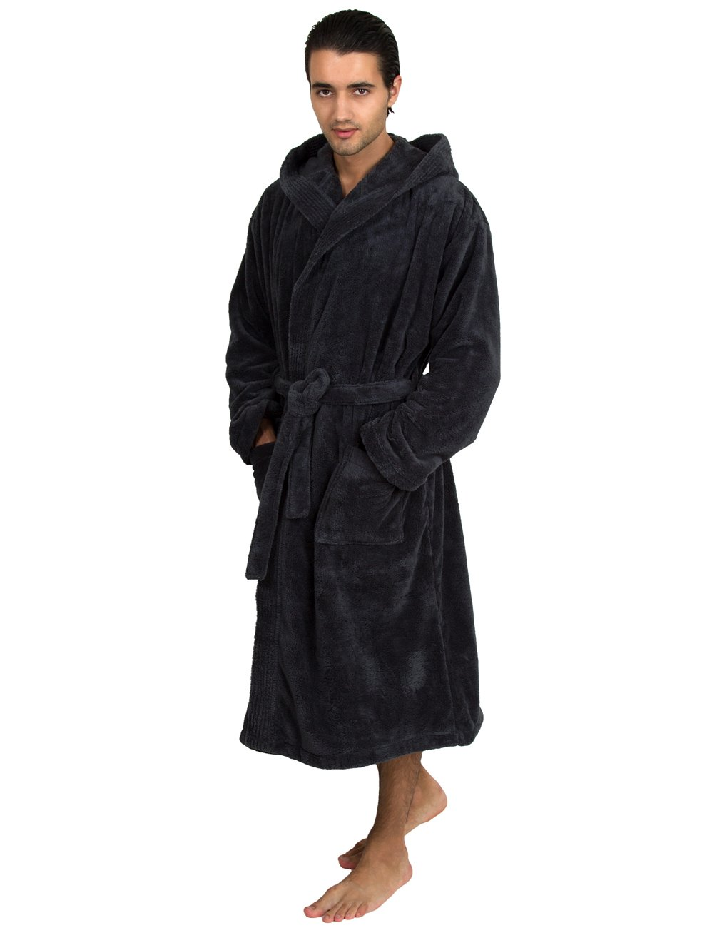 TowelSelections Men's Robe, Plush Fleece Hooded Spa Bathrobe Small/Medium Charcoal