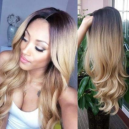 S-noilite Peluca de pelo sintético de 3/4 para mujer, con clip, sin flequillo (rizado, tinte de inmersión 6/29 # 6 a # 29 ombre)
