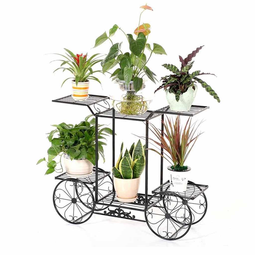 Asdfooo Plant Stand, Stazione vegetale Multi-Funzionale in Ferro battuto Rimovibile Fiore di stoccaggio in Stile Europeo Adatto per Piante Verdi al Coperto Nero 78cmx75cmx28cm