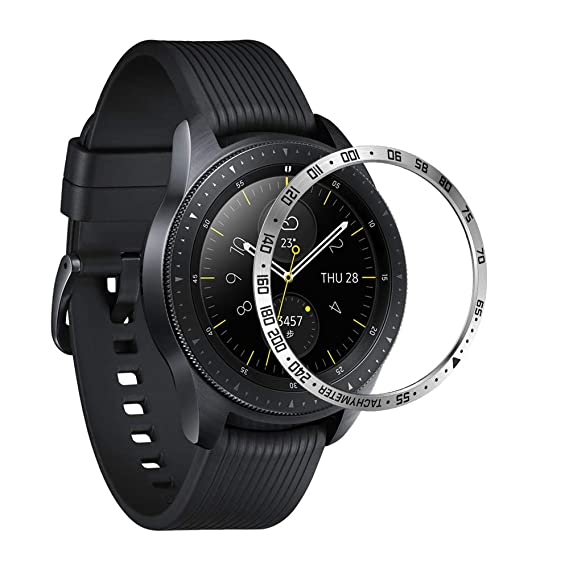 ANCOOL Compatible Samsung Galaxy Watch 42mm/Gear Sport Bezel Ring Adhesive Cover Anti Scratch Stainless Steel Protector Design for Galaxy Watch ...