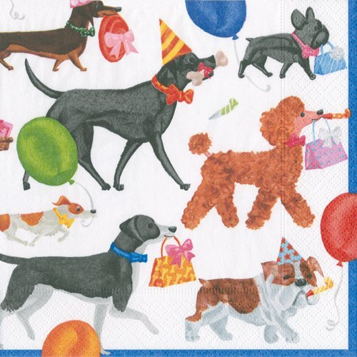 Dog Party Cocktail Napkins Paper Napkins Dog Birthday Party Winston Pack of 40
