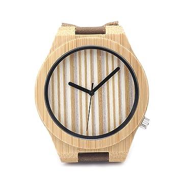 MSB no escalera caparazón estrecho/rayas verticales Calvo puntero/reloj de cuarzo/Hombres y Mujeres guardano el madera: Amazon.es: Deportes y aire libre