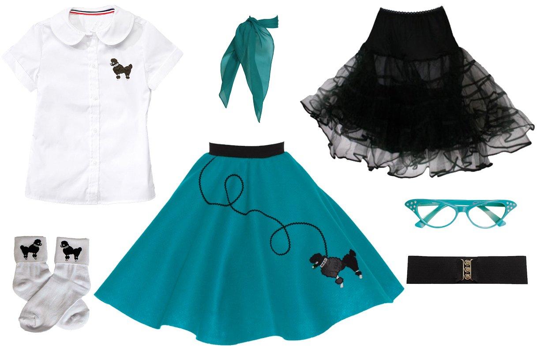 Hip Hop 50s Shop 7 Piece Child Poodle Skirt Outfit, Size 8 Teal