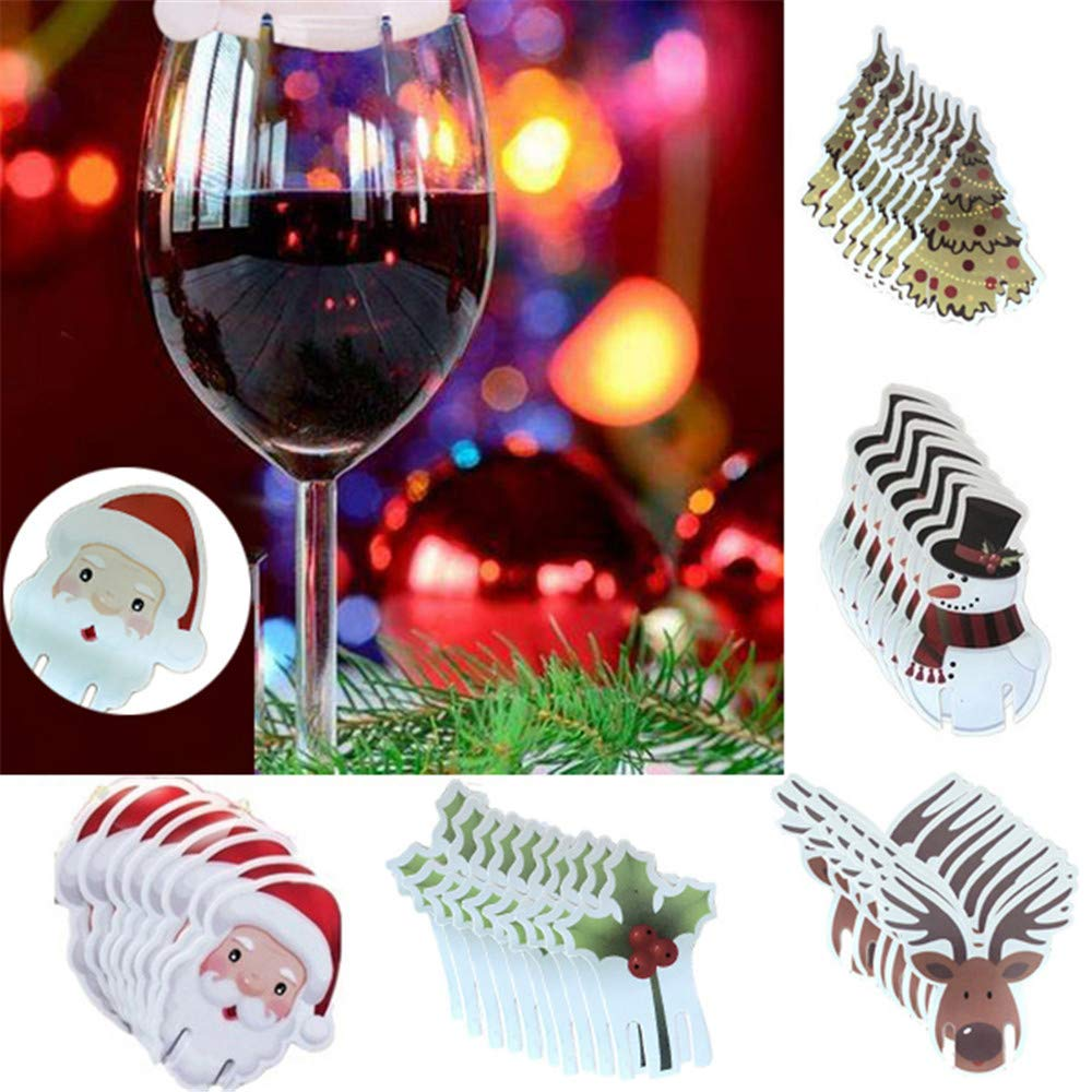 HANANei 10 Pcs Christmas Santa Claus Hat Red Wine Cup Card Christmas Hat Cup Card Decor (D)